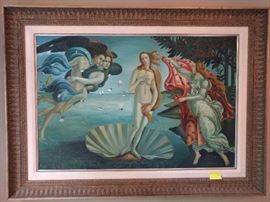 "Very nice, hand painted copy of the original ""The Birth of Venus"" by Sandro Botticelli."