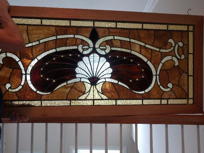 """Very nice, antique framed stained glass panel; measures 4' 6"""" x 1' 9"""".I8731"""