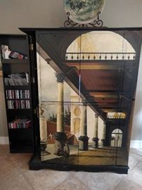 Hand painted entertainment armoire, with two door that open on each side (left side is open) to hold albums, CD's, 8-tracks and odd Hot Wheels cars.