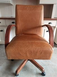 Very nice quality leather desk chair, mfg. by Shermag, Inc, Sherbrooke, Quebec. (that's Canada, ya know)