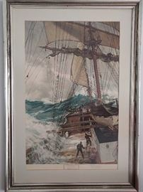 """Signed lithograph """"The Rising Wind"""", by Montague Dawson ; frame measures 34"""" x 48""""."""