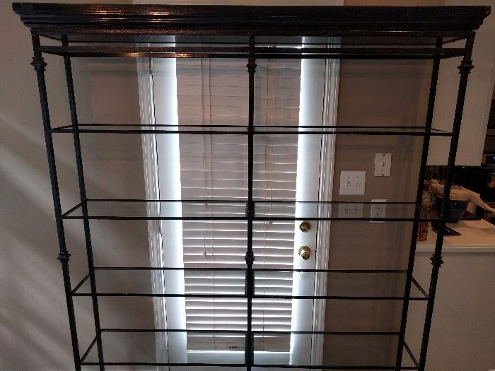 """Very nice wrought iron/glass etagere; measures 6' 6"""" tall x 5' 4"""" wide x 10"""" deep."""