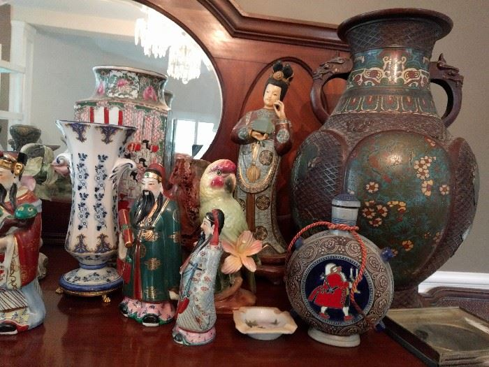 More pics to follow, but there are some very nice Asian cloissoné and champleve vases and figurines.