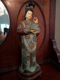 Very nice work on this vintage cloisonné Asian figurine.