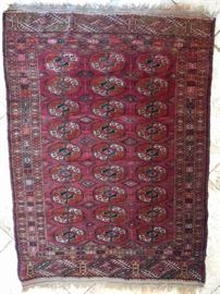 """Vintage Bokhara, hand woven, 100% wool face, measures 4' 8"""" x 3' 6""""."""
