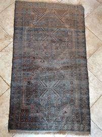 "Vintage Afghan tribal Baluch rug, hand woven, 100% wool, measure 6' 3"" x 3' 7""."