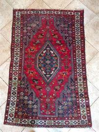 "Vintage tribal Persian Hamadan rug, 100% wool face, hand Woven, Measures 6' 5"" x 4' 2""."
