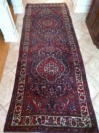 "Vintage tribal Persian Bakhiatari gallery  runner, 100% wool face, hand Woven, Measures 11' 8"" x 4' 4""."