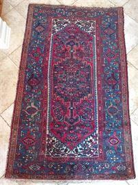 "Vintage Persian Hamadan rug, 100% wool face, hand Woven, Measures 6' 5"" x 4' 3""."