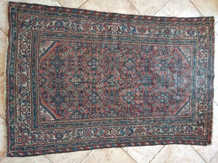 "Vintage tribal Persian Farrahan Sarouk rug, 100% wool face, hand Woven, Measures 6' 2"" x 4' 2""."