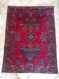 "Vintage Persian Hamadan rug, 100% wool face, hand woven, measures 6' 2"" x 4' 6""."