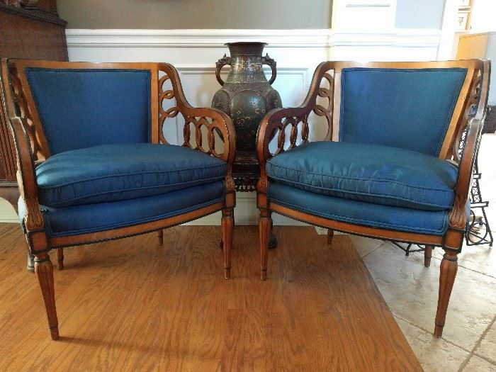 PAIR of MCM Italian walnut frame, silk upholstered armchairs. They're HOT!