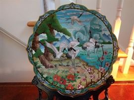 Stunning (really) cloisonné plate, on fitted wooden stand.