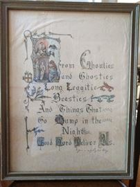 OMG - LOVE THIS! It's from an early English litany, hand lettered on parchment, GREAT for Halloween, it states: From Ghoulies                                                                   and Ghosties                                                                   Long Leggitie                                                             Beasties                                                                             And Things That                                                                 Go Bump in the                                                              Night                                                                                Good Lord Deliver Us.
