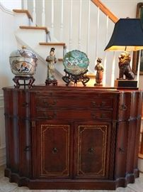 Gorgeous 1940's mahogany buffet, with leather inlay top and two door fronts, opens to a bar!