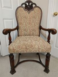 She would look SO MUCH BETTER sitting in THIS chair! Very well carved and ready for a fat-bottomed, Rubenesque gal.                                                            Awful fabric, but you know a guy, right?