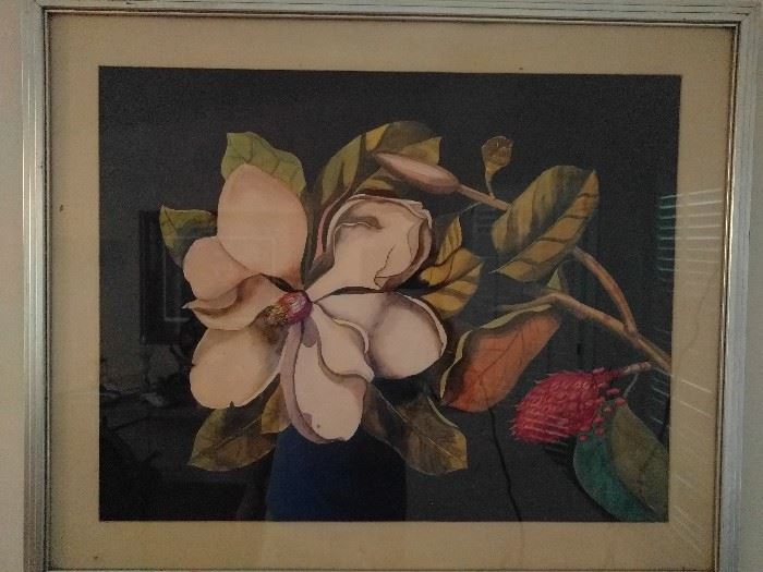 NICE original watercolor of the South's most iconic flower, a gardenia.                                                            Just kidding - it's a magnolia!                                    Whut?