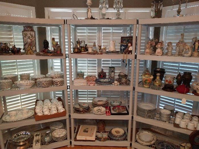 All kinds of china, cloisonne, vintage porcelain figurines and vases.
