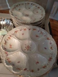 Set of eight vintage Austrian china oyster plates.