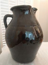 AMAZING 18-Inch tall alkaline glazed jug, attributed to Lanier Meader. Owner paid $800.00 for jug 20 years ago. Did she buy well, or was there a screwin' ?!?
