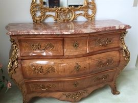 Beautiful Rosewood Rococo style chest of drawers with marble top- matching pair!