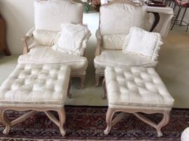 Pair of French Provincial chairs with ottomans
