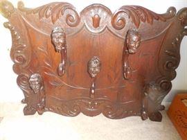 Antique Figural Hand Carved Coat/Hat Rack,