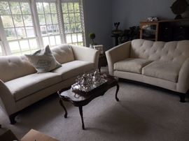 """Pottery Barn White Suede Tufted Sofa, Love Seat. Vintage Hand Carved Mahogany Cocktail Table. International Silver Co, """"Joanne"""" Tea,Coffee Set plus Tray,Pristine Condition!"""