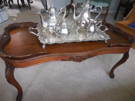 Vintage Hand Carved Mahogany Cocktail Table.