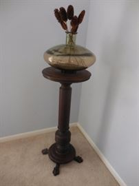 Antique Hand Carved Claw Footed Mahogany Pedestal