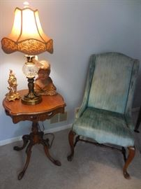 Antique Hand Carved Oak Fretwork Detail on base of Occasional Table. Chalk ware Bust, Wing Back Chair Mahogany Frame