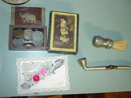 Old Foreign coins, Cards, Shaving and pipe