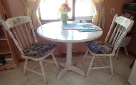 WHITE WASHED DROP LEAF TABLE AND 2 CHAIRS