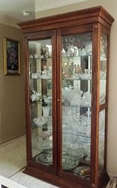 WALNUT LARGE GLASS CURIO WITH SLIDING DOORS