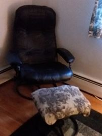 Leather chair and ottoman foot stool