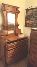 100 Year old Vanity with built in jewel boxes, mirro, 3 drawers