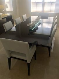 dining table with 8 leather white seats
