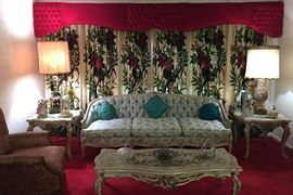 1950'S FRENCH STYLE 3 CUSHION SOFA, MATCHING TABLES, LAMPS, CUSTOM DRAPES AND VALENCES