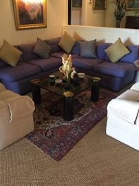 Perri winkle blue silk sectional very comfortable custom made by designer in Ca.with a great vintage coffee table