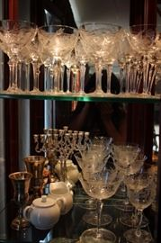 Lots of Stemware, Menorah & Kiddush Cups