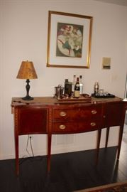 Console Table with Bar Items, Lamp and Art