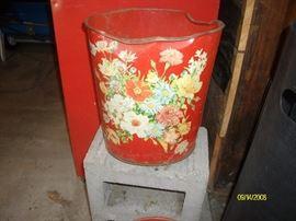 Vintage metal waste basket ( as found )