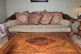 Inlaid coffee table Leather sofa