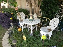Yard Decor, Decoration - Iron Patio Furniture Set, Vintage