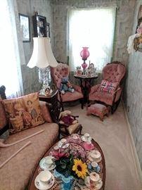 Victorian furniture and tea sets