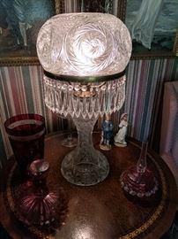 Stunning mushroom shade cut glass table lamp