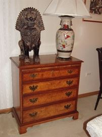 4 drawer chest with pull out tray,  Chinese warrior lamp, Foo Lion or Dog