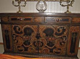 Painted Portofino Cabinet, ornate vintage metal 3 arm candelabras