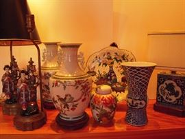 Beautiful Oriental lamps, vases and plate