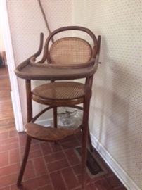 thought to be circa 1903 Thornet Chairboy (?); bentwood high chair